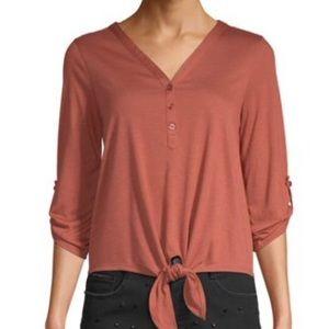 No Boundaries Juniors 3/4 Lace Back Henley Shirt